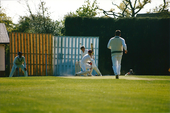 Again, not from Club Day but Martin 'Peth' Pether narrowly misses out on despatching the same bowler for four behind square.