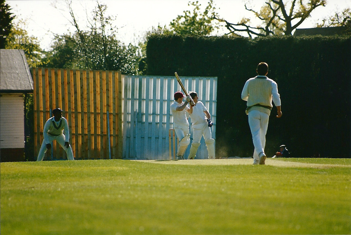 This wasn't from Club Day but the same era and features Gary Jones despatching another behind square for four.  Natural wood sightscreens were all the rage at the time...