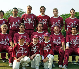 Back Row: Graeme Walker, Ronnie Saunders, Gulfraz Muwas, Max Osborne Tom Moore, Harri Jones, Paul Degg, Richard Walford: Middle Row: Aaron West, Ian Belchamber, Jon Walford (Captain), Ben Cocklin, James Redwood; Front Row: Mascots Sam Wood, Sam Austin, Ma