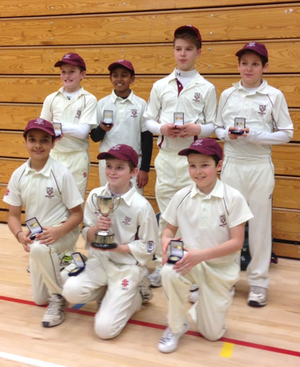 Winners!  Brentwood Cricket Club U12s Squad.  Back Row (left to right): Max Gunn, Isaac Raj, Teddy Mortlock, Cameron Linsday; Front Row (left to right): Sajan Sra, Alexander Berry (Capt.), Daniel Peakall