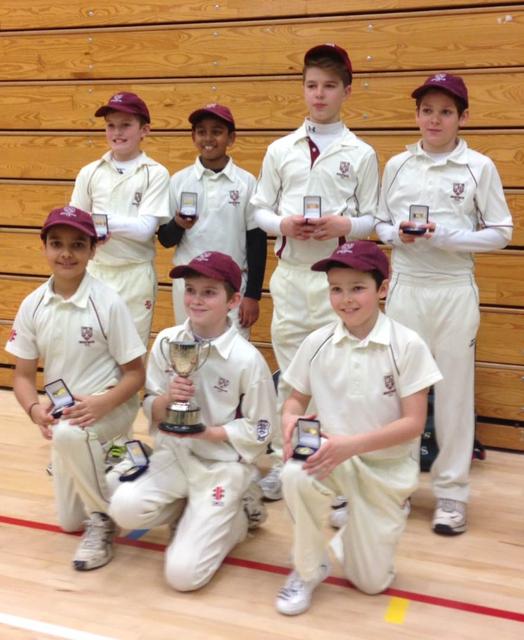 Winners!  Brentwood Cricket Club U12s Squad.  Back Row (left to right): Max Gunn, Isaac Raj, Teddy Mortlock, Cameron Linsday; Front Row (left to right): Sajan Sra, Alexander Berry (Capt.), Daniel Peakall