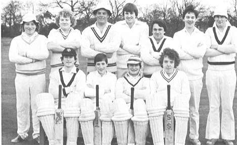 1981 Centenary Season Under 30's XI.  Standing T. Coote, A. Potter, D. Cantor, M. Donkin, J. Hayto, R. Stroud, R. Coote Sitting M. Pether, D. Eyres, T. Riley, M. Potter