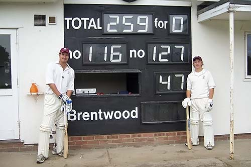 One assumes this photograph was taken at tea...the official tale of the tape record Jon Walford being out on 116 and Aaron West finished Not Out on 142.