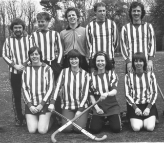 Ayr HC mixed tournament early 70s? Back row: Graeme McDiarmid, Graeme Bennett, Alistair Baxter, Robert Crawford, Neil Stewart.  Front row: Liz Robertson, Liz Talbot, Joan Mackie, Linda Robertson