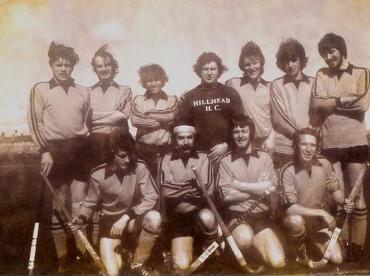 Hillhead 1sts, early 70s. Back row: Graeme Bennett, Brian Rickard, ?, Murdo Campbell, Angus Slesser, Neil Stewart, Jim Nimmo.  Front row: John Russell, Dave Hilton, Robert Liddle, Derek Lumsden