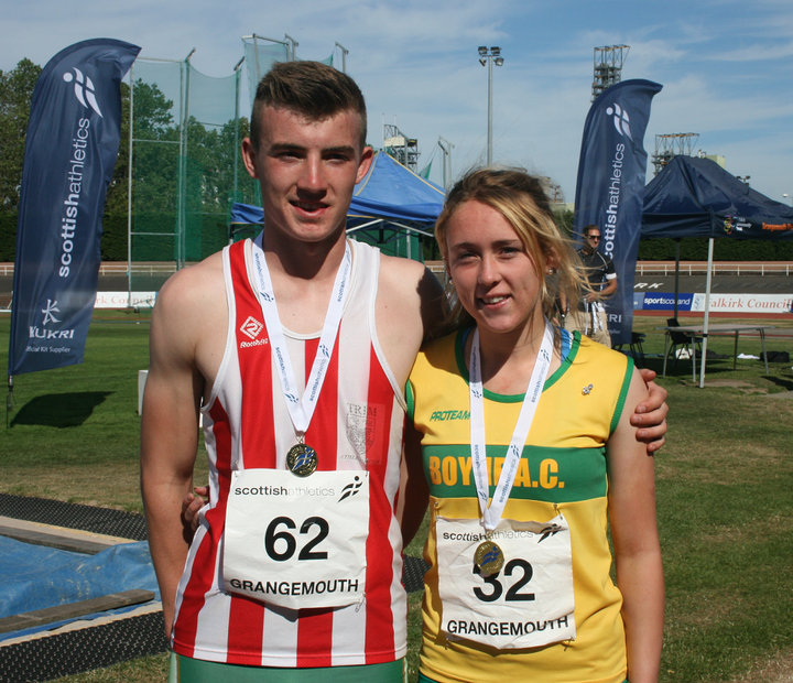 Shane Aston and Amy McEntaggart (Boyne AC) at the Scottish Combined Events