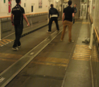 Playing on a deserted Eurotunnel train at gone midnight on our way home!