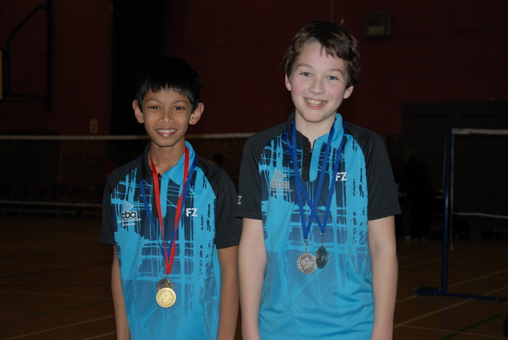 Achira and Sebastian with their medals from the Colchester Yonex tournament