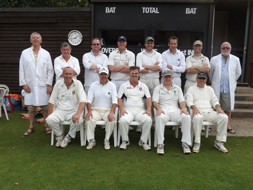 Plantationers: Back: David Barrs (umpire), John Sandford, Ed Clayden, Tom Hughes,  Martin 'Charlie' Tritton (capt), Richard Cross, Tom Rodda (guest), Stuart Rider (Umpire). Front:  Mark Chapman, Gareth Williams, Sean Murphy, Dougie Dorren, Merf Hughes