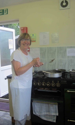 Pat Baker made an early start in the kitchen