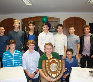 The team of u16s and u15s who won the Essex Matchplay trophy, a first for the club