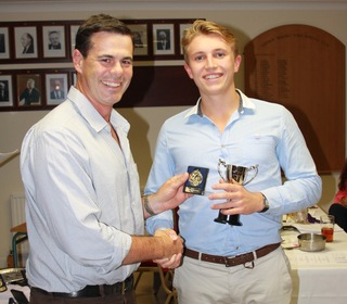 Jason Gallian presents Simon Parmenter with the Land Memorial Cup for the Most Outstanding Performance of the Year (6 catches vs Bury St Edmunds)