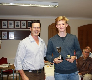 Jason Gallian presents Finn Karsten with the Batsman of the Year Award