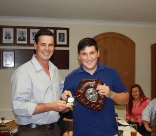 Jason Gallian presents Ryan Brown with the Leason Shield for Most Improved Cricketer