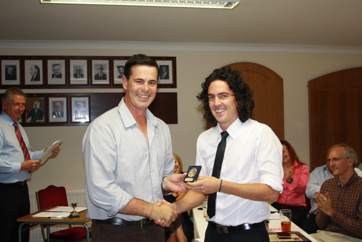 Jason Gallian presents Andrew Winton with the First XI Player of the Year award