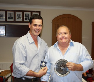 Jason Gallian presents Peter Hill with the HJ Cheffins Memorial Award for Most Outstanding Clubman