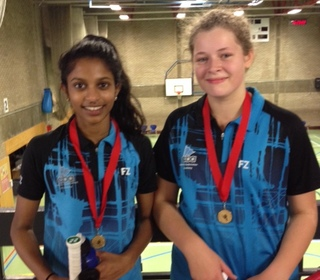 Hannah Milton & Chanumi Gamage, winners in doubles, Cambs U15 Bronze
