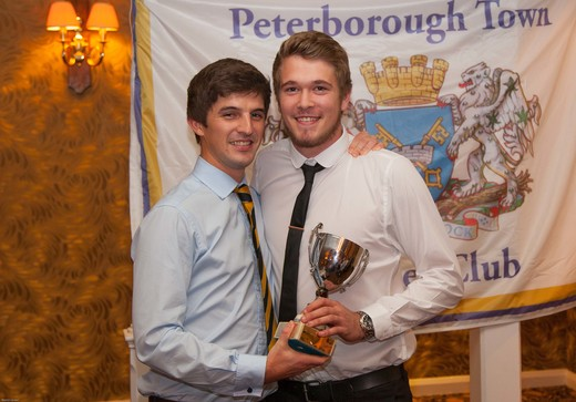 PTCC 2014 award winners: Rob Sayer (right) collects 1st XI Player of the Year award on behalf of Joe Dawborn, currently in Australia