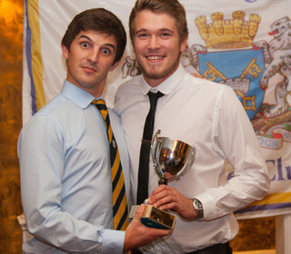 PTCC 2014 award winners: Captain Lewis Bruce, left, presents Rob Sayer (right) with the 1st XI Player of the Year award on behalf of Joe Dawborn, currently in Australia