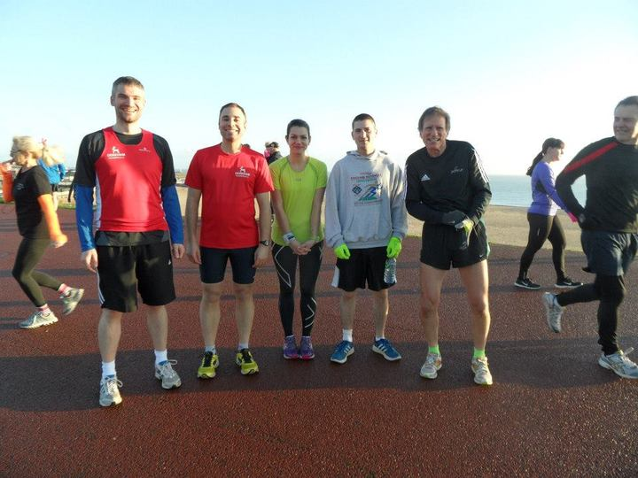 Five Dereham Runners are ready to start the Gorleston Cliffs parkrun on a cold bright morning. 06/12/14.