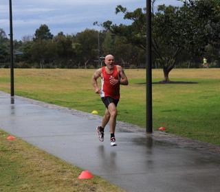 Our first International parkrunner Dave Kellaway wearing club colours and finishing in sixth position at the St Peters parkrun, Sydney, Australia.(26/07/14)