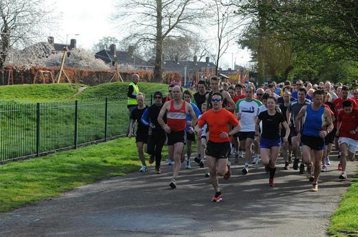 Dereham's Neville Knights and Matt Plunkett can be seen near the front of the Norwich parkrun. 14/04/12.
