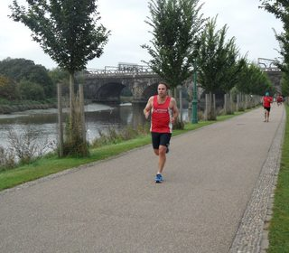 Steve Rix flies the flag for Dereham Runners at Preston parkrun. (27/09/14)