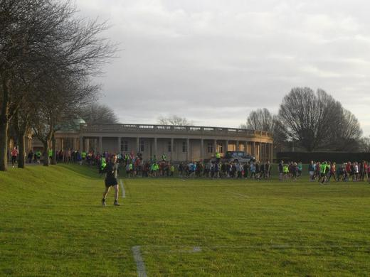 It is nearly nine o'clock in Eaton Park, the pre race briefing has been given and the runners are making their way to the start for the Norwich parkrun. (20/12/14).