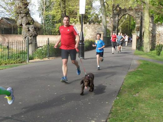 Steve Rix with 'Charlie' at King's Lynn parkrun. (19/04/14)