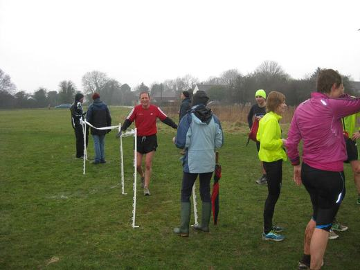 Racing the 'Ducks' at Mulbarton parkrun.(9/03/13)