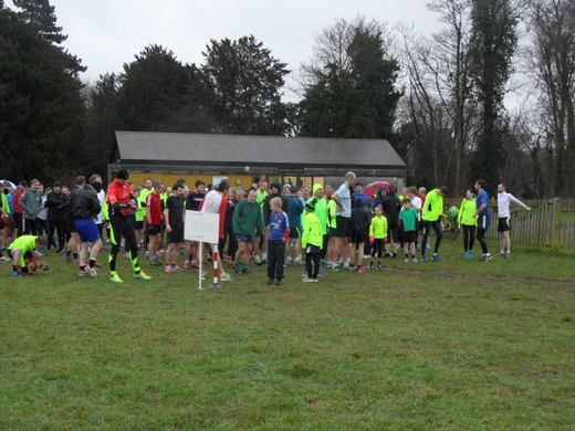 The start at Catton parkrun by Hayman Lodge (Catton Park Visitor Centre) (3/01/15)