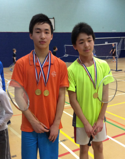 Alan & Andy Wang with gold medals for yr 8/9 singles and doubles 31/1/15