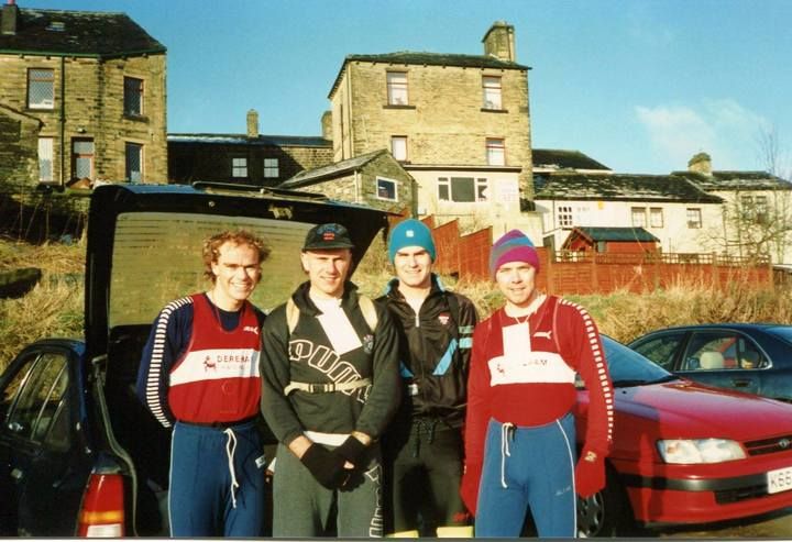 Howarth Hobble 33 Mile Fell Run, March 1994. (Jonathan Knights, Dave Kellaway, Kevin Bradley, Neville Knights)