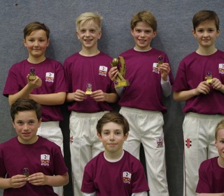 U11 Indoor Final Winners  Back Row - PJ Jaques, Ethan Norris, Jacob Knightbridge, Henry Deacon. Front Row - Freddie Wise, Oliver Cohen, William Reed