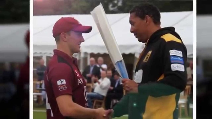Westy collecting the Man of the Match award from Phil DeFreitas after hitting 89 not out against Lashings