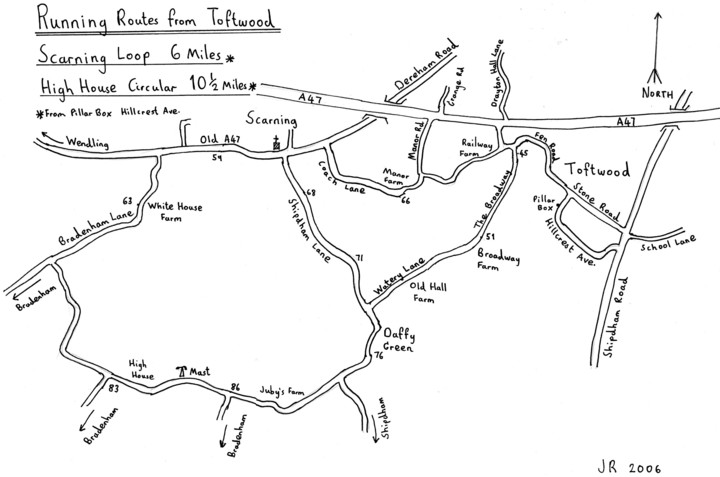 Running Routes from Toftwood