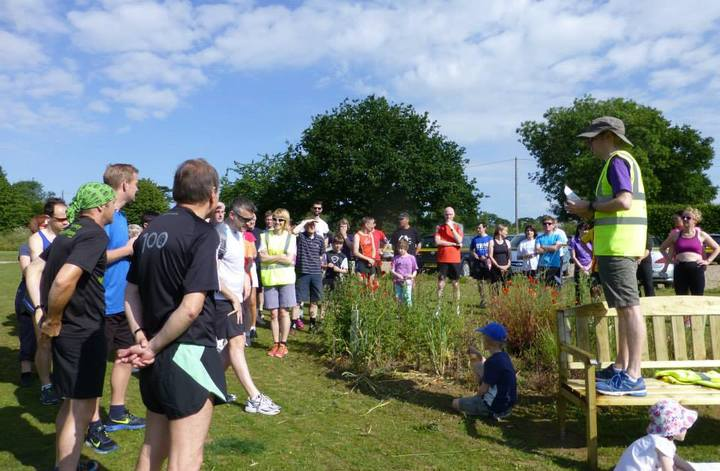 John Richardson paying attention to the Race Director's pre-race briefing at Brundall parkrun (27-06-15)