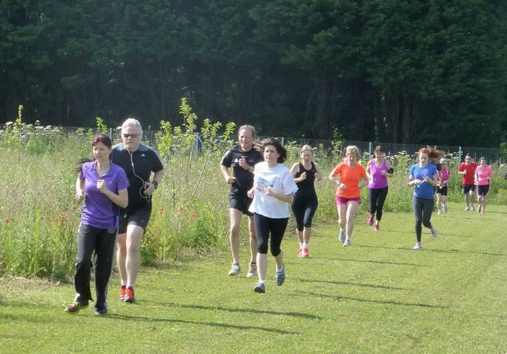 John Richardson on the broad grass mown paths at the Brundall parkrun (27-06-15)