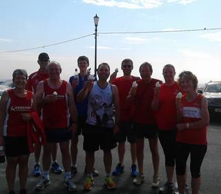 Dereham Runners enjoying an ice cream after the Gorleston Cliffs parkrun (4-07-15)