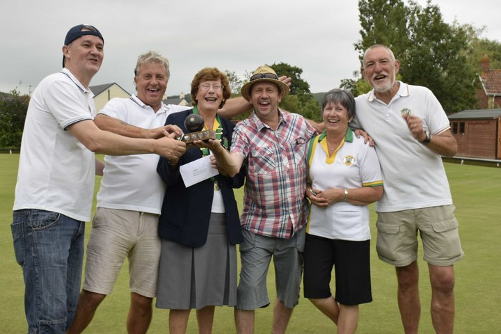 The winners celebrate - Tim Young, Dave Towler, Clive Burlton and Graham Lovesey with president Val Harding and tournament organiser Chris Wilcock