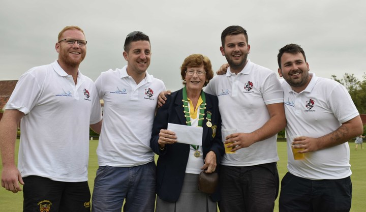 President Val Harding with third place Congresbury Footballers - Mick Edmunds, Danny Bullock and the Sullivan brothers