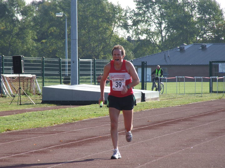 Bringing the baton home for Dereham Runners 21st, September, 2008. John Richardson ran 'The Glory Leg'- Stage 17, Stowbridge to King's Lynn 11.73 miles in a time of 1-44-24.