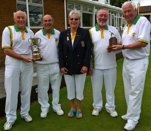 Pairs winners Mike Kimmings and Don Manning who beat Dave Byett and Tony Lewis received their trophies from Jenny Byett