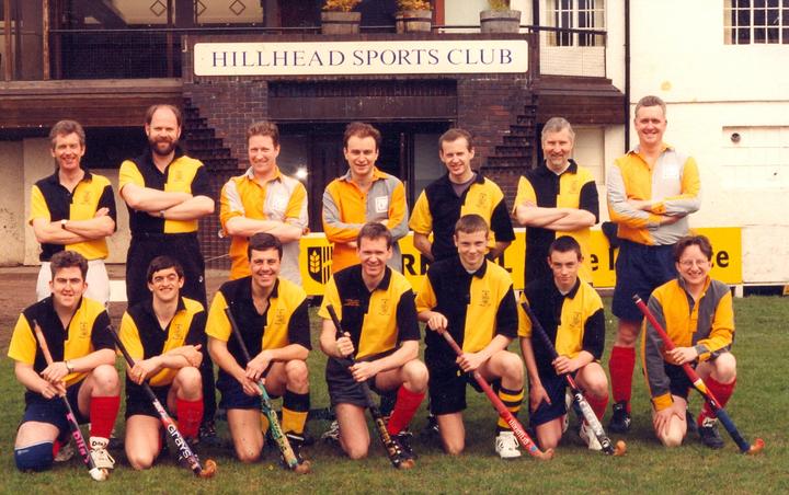 4th(?) team from the 90s? Back row: Ron Meikle, David Bell, Gordon McIntyre-Kemp, ??, Martin Hunter, Graham Darroch,??; Front row: Hugh Gibson, Drew Shaw, Ralph MacPherson, Graeme Bell, Stephen Bate, ??, Stewart Rennie