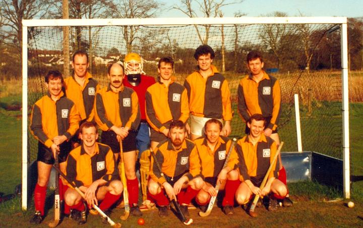 3rds or 4ths from the 90s? Back row: Charlie Candlin, Steve Holt, Dave Hilton, Goalie?, Jamie Scott, Dave Hunter, Ron Meikle; Front row: Alistair Blair, Graham Darroch, Brian Duffy, Martin Hunter