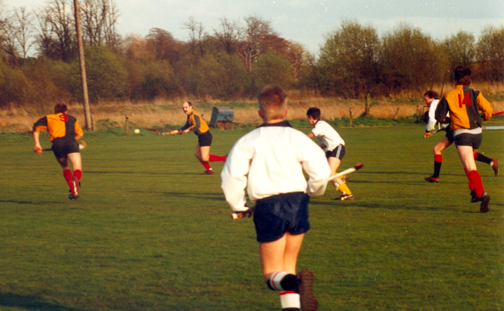'Father' Hilton in action on the grass at Auchehowie, early 90s in Hillhead 4ths promotion winning match against  Western.
