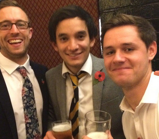 PTCC 2015 awards night: 1st XI player of the year Jow Dawbron, right with teammates Jamie Smith and David Clarke
