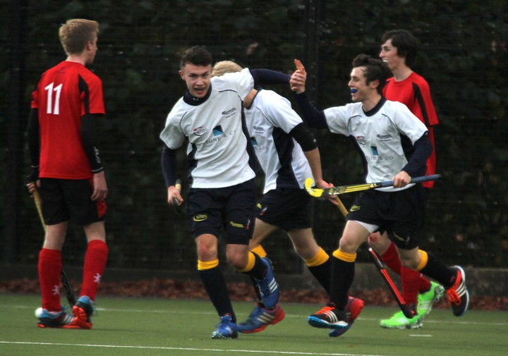 U18 Buccaneers Tom Silcox and Callum White celebrate after scoring against Plymouth Marjon.