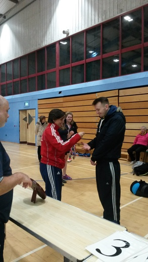 Winning team being presented with medals