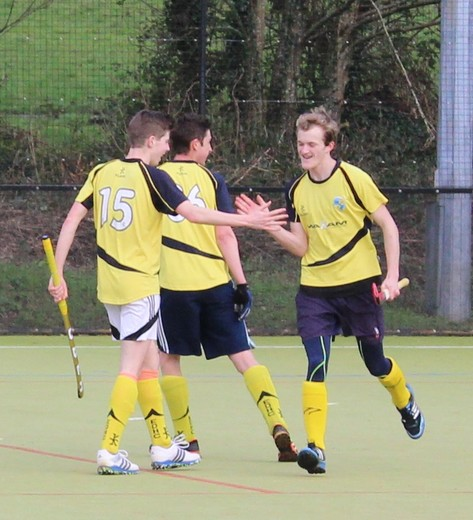 James Chard celebrates opening the scoring with Sam Adams and Dave Essex
